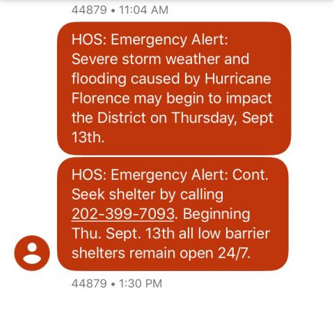 HOS Emergency Text